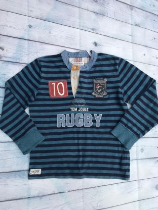 "Joules long sleeve blue striped top with applique ""RUGBY"" design age 7-8"